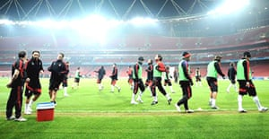 Ac Milan train at the Emirates Stadium