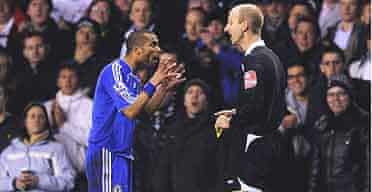 Ashley Cole protests to Mike Riley