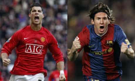 Cristiano Ronaldo of Manchester United and Barcelona's Lionel Messi