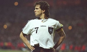 Andreas Moller celebrates scoring against England in Euro 96
