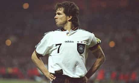 Andreas Moller celebrates scoring against England in Euro 96