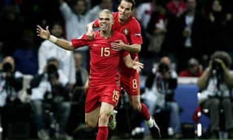Pepe celebrates his goal against Turkey