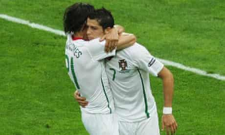 Cristiano Ronaldo celebrates with Nuno Gomes after scoring his team's second goal during the UEFA EURO 2008 Group A match between Czech Republic and Portugal on June 11, 2008 in Geneva, Switzerland. (Photo by Thomas Niedermueller/Bongarts/Getty Images)