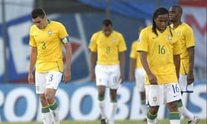 Lucio, Gilberto and Anderson after Brazil's to defeat to Paraguay