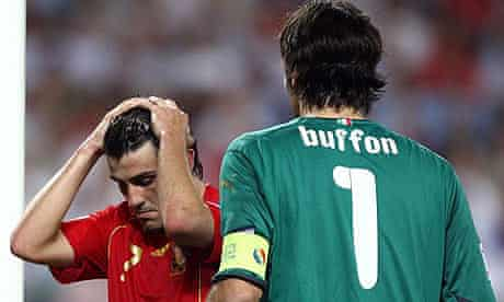 David Villa and Gianluigi Buffon