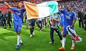 Drogba and Kalou with Ivory Coast flag