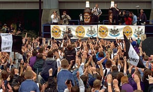 Alan Shearer is unveiled outside St James Park in 1996