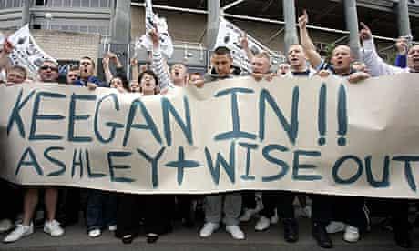 Newcastle fans protest outside St James' Park