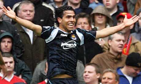 Carlos Tevez celebrates his goal at Old Trafford that kept West Ham in the Premier League