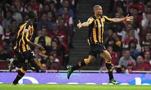 Daniel Cousin celebrates scoring Hull City's winning goal against Arsenal