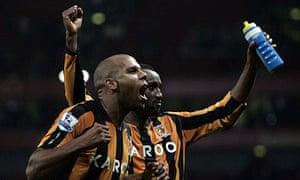 Marlon King and George Boateng celebrate