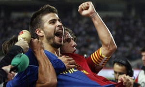 Gerard Pique and Carles Puyol after Barcelona's win at Espanyol