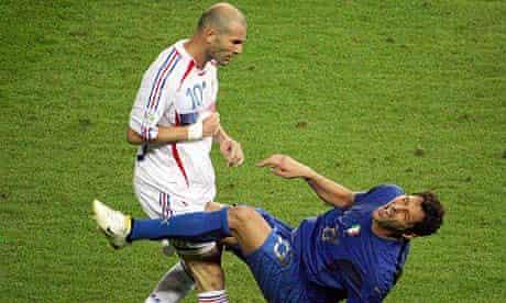 Zinedine Zidane head-butts Marco Materazzi in the 2006 World Cup final