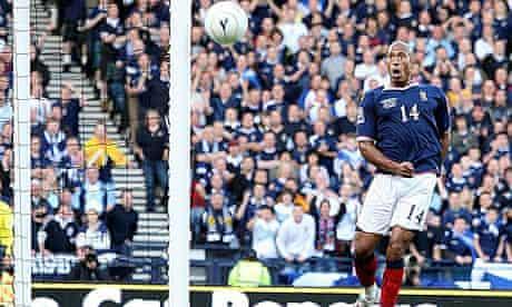 Chris Iwelumo misses an open goal for Scotland