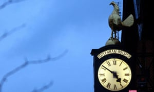 The Tottenham Hotspur clock with a gold cockerel on top outside White Hart Lane