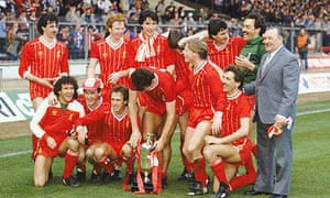 Liverpool celebrate winning the Milk Cup