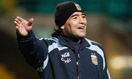 Diego Maradona takes his first training session before Argentina's game against Scotland