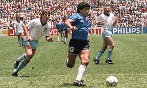 Diego Maradona leaves Terry Butcher and Terry Fenwick in his wake