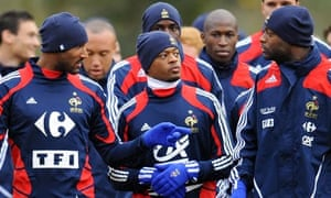 France forward Nicolas Anelka with defenders William Gallas and Patrice Evra