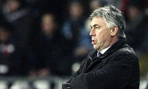 Carlo Ancelotti watches match versus Juventus