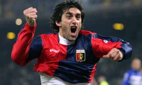 Genoa forward Diego Milito cheers after scoring against Sampdoria at the Ferraris stadium