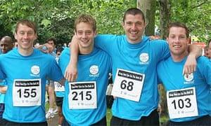 Matt Duke, one from right, and Neil Harris, far right