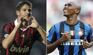 Pato of Milan and Samuel Eto'o of Internazionale