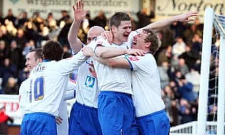 Hartlepool celebrate Michael Nelson's opener against Stoke