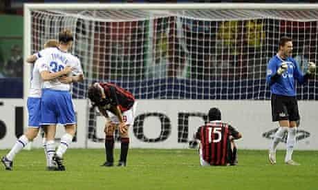 FC Zurich celebrate their win in Milan