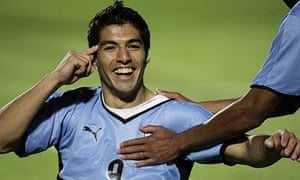 Uruguay's Luis Suarez celebrates his goal against Ecuador