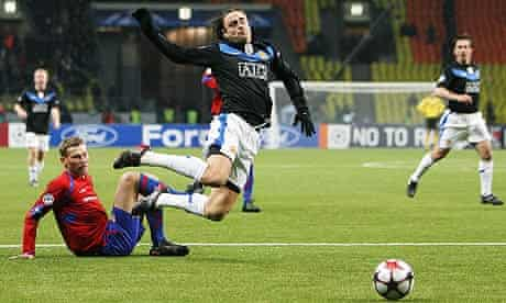Manchester United's Dimitar Berbatov was booked for diving against CSKA Moscow