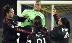 Alessandro Nesta, left, celebrates with his Dida and co at the final whistle