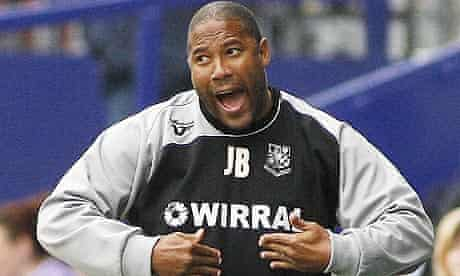 John Barnes during Tranmere's game with Colchester