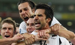 Rory Fallon celebrates after scoring in New Zealand's World Cup play-off win over Bahrain