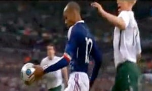 Thierry Henry's handball in the build-up to France's decisive goal against the Republic of Ireland