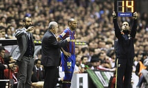 Thierry Henry prepares to come on for Barcelona at Bilbao