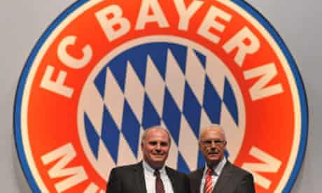 Uli Hoeness and Franz Beckenbauer pose during the annual members meeting