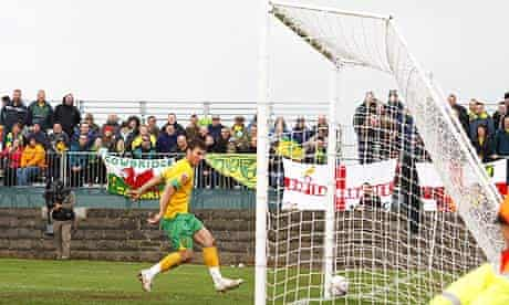 Chris Martin scores the first of his four goals for Norwich City at Paulton Rovers