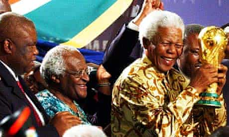 Nelson Mandela and Desmond Tutu in Zurich in 2004 after South Africa was awarded the 2010 World Cup