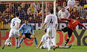 David Villa scores for Spain against England