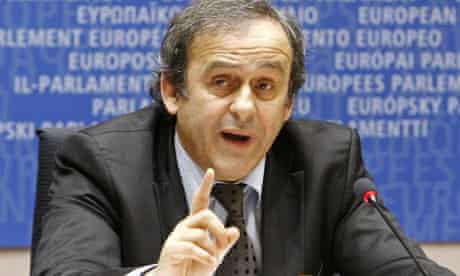 Uefa president Michel Platini addresses the European Parliament in Brussels