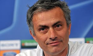 Jose Mourinho speaks at a press conference before Inter's Champions League clash with Man Utd