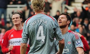 Liverpool's Xabi Alonso reacts after scoring an own goal at Middlesbrough
