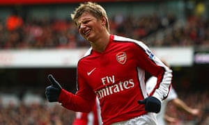 Andrei Arshavin of Arsenal rues a missed chance against Fulham