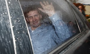 Tony Adams is driven away from Portsmouth's training ground in Eastleigh