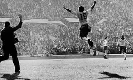 Brazilian player Zito celebrates scoring the second goal for Brazil during the 1962 World Cup final
