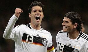 Germany's Michael Ballack celebrates scoring in Wales