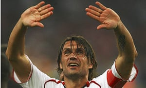 Paolo Maldini after Milan's victory over Liverpool in the 2007 Champions League final