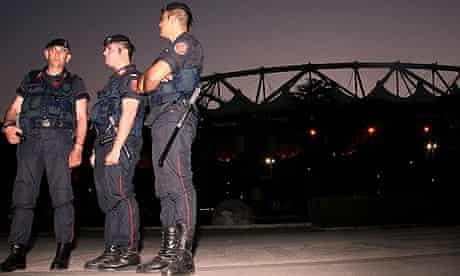 Carabinieri patrol the Stadio Olimpico