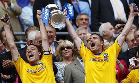 John Terry and Frank Lampard lift the FA Cup together after Chelsea's win over Everton